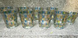 Lot Of 8 Mcm Cera Cocktail Lowball Glasses And Shot Glass Green Blue Gold