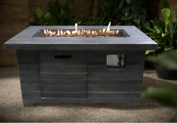 Rustic Fire Pit Table Backyard Heater Lp Gas Cover Weathered Gray Brown Propane