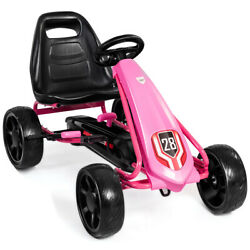 Pedal Go Kart Kids Bike Ride On Toys Outdoor W/ 4 Wheel And Adjustable Seat Pink