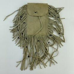 Native American Beaded Leather Tobacco Medicine Or Pipe Bag Pouch Vintage Fringe