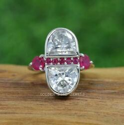 Colorless Half Moon Moissanite Bezel Set Antique Ring / Natural Pink Ruby Ring