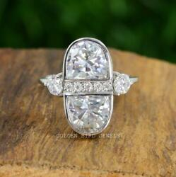 Half Moon Cut Antique Ring / 4.00 Ct Colorless Moissanite Engagement Ring