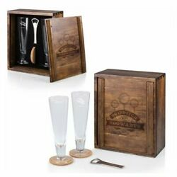 Harry Potter Quidditch Acacia Wood Glass Gift Set