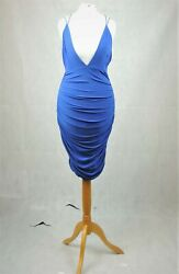 Missguided Blue Slinky Double Strap Ruched Bodycon Size 10 Uk Cr017 Ee 15