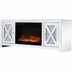 Elegant Decor Modern 59 Clear Silver Mirrored Faux Log Fireplace Tv Stand