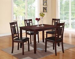 Bold Modern Faux Leather Cushion Chairs Unique Table Kitchen Dining 5pc Set Home