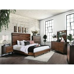 Antique Charm Finish Queen Size Wood Panel Bed 1pc Master Bedroom Furniture