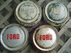 Four Vintage Ford Pickup Truck Dog Dish Center Caps Hubcaps Wheel Covers Fomoco