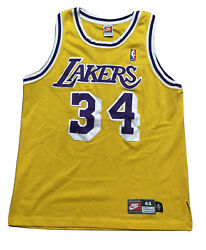 Vtg Shaquille O'neal Shaq La Lakers Nike Authentic Gold Jersey 44 L Rare Promo