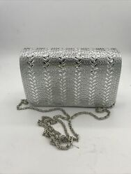 silver evening purse magentic clasp Metal Link Strap $7.50