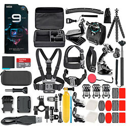 Gopro Hero9 Black With 64gb Card And 50 Piece Accessory Kit - Loaded Bundle