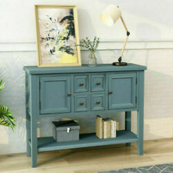 Us Sofa Side Console Table W/4drawers Storage Shellf Wood Buffet Table Sideboard