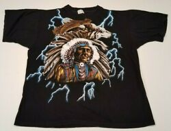 Vintage American Thunder - Indian Chief T Shirt Xxl 2xl Native American Wolf