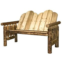 Log Patio Bench Amish Made Rustic Porch Benches Lodge Cabin Montana Furniture