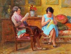 Daniel Tixier Painting Interior Woman Mother Girl Impressionism Sewing Reading