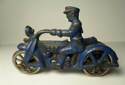 Vintage Hubley Cast Iron Blue Motorcycle Cop W/ Nickel Wheels And Side Car