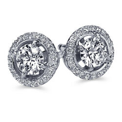 Real Diamond Halo Earrings 14k White Gold 1.20 Ct Si2 D 30351139