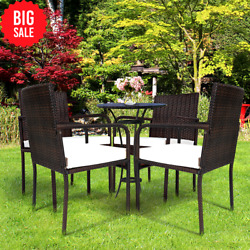 Gymax Set Of 4 Rattan Wicker Dining Chairs Patio Outdoor W/ Cushion Armrest