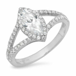1.2 Ct Marquise Cut Natural Diamond Stone Solid 14k White Gold Halo Ring
