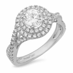 1.3 Ct Round Cut Natural Diamond Stone Solid 14k White Gold Halo Ring