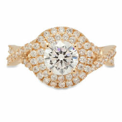 1.3 Ct Round Cut Natural Diamond Stone Solid 14k Yellow Gold Halo Ring