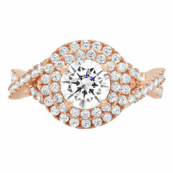 1.3 Ct Round Cut Natural Diamond Stone Solid 14k Rose Gold Halo Ring
