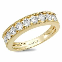 0.81 Ct Brilliant Round Cut Natural Diamond Stone Solid 18k Yellow Gold Band