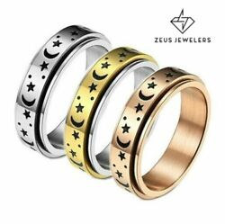 Stainless Steel Moon And Star Anxiety Spinner Ring