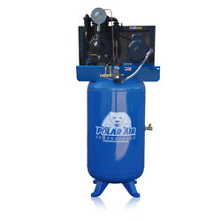 5 Hp Air Compressor 2 Stage 3 Phase 80 Gallon Tank Vertical Industrial Plus