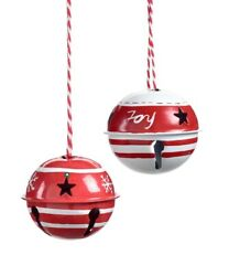 Set Of 6 Christmas Bell Ornaments Metal Red And White Star Cut Outs Jingle 2.5 D