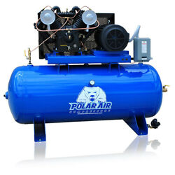 7.5hp Air Compressor Pressure Lubricated 2 Stage Single Phase V4 80 Gallon