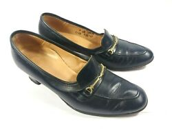 Vintage 80's Leather Shoes Musebeck Block Heels Midnight Blue Size 7