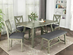 Us 6pcs Rustic Wood Dining Table Set Kitchen Dining Table And4padded Chairs +bench