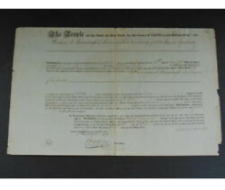 Historic New York State Document Signed Governor Dewitt Clinton Autograph 1819