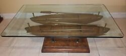 Hand-carved Wooden Boats Large Glass Top Table