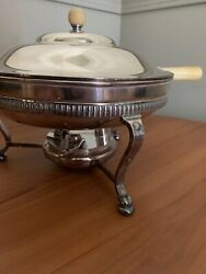 Rare Early Andco Silver Soldered Chafing Dish W/ Stand And Burner