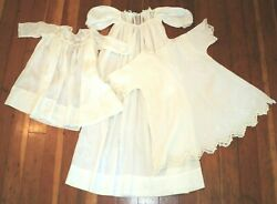 Antique Victorian Long Christening Gown Embroidery And Lace + 2 Victorian Dresses