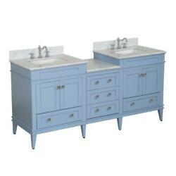 Kbc Eleanor 72 Double Vanity Cabinet With Carrara Stone Top In Powder Blue