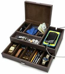 Admiral Big Dresser Valet Box And Mens Jewelry Box Organizer With Large Smartphone