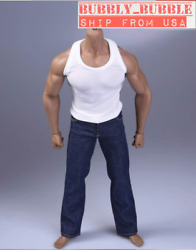 1/6 Tank Top Vest Blue Jeans For Muscular Body Phicen M33 M34 M30 Worldbox ☆usa☆