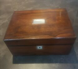 Stunning Antique Victorian Rose Wood Sewing Box C1850-70