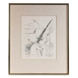 Original Salvador Dali The Lady And The Unicorn Etching Signed In Print