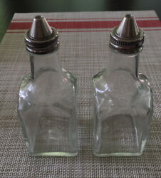 2 Vintage Gemco Clear Glass Oil And Vinegar Salad Dressing Bottles With Spouts