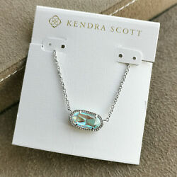 Kendra Scott Elisa Pendant Necklace. Dichroic Glass And Silver