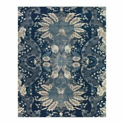 Feizy Vivendi 7and0399 X 9and0399 Premium Hand Knot Wool Area Rug In Navy Blue/ivory