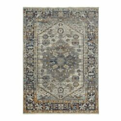 Feizy Wesley 2' X 3' Persian Medallion Fabric Area Rug In Gray/orange