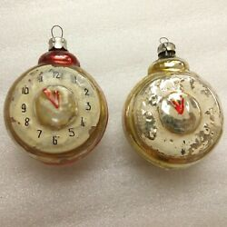 2 Antique Vintage Russian Ussr Glass Christmas Ornaments Decorations Old Clocks