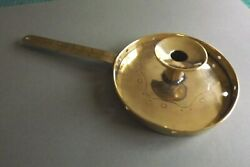 Arts And Crafts Antique C1910 Large Brass Chamberstick Hand Engaved Design Good