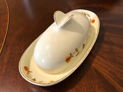 Hall China Autumn Leaf Jewel Tea 1/4 Pound Wings Butter Dish