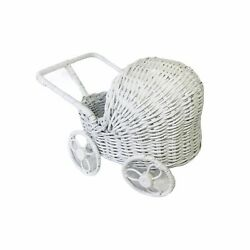 Vintage White Wicker Rattan Doll Baby Stroller Buggy Carriage Basket Plant Stand